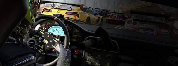 look inside of a cockpit with other racing cars on the track