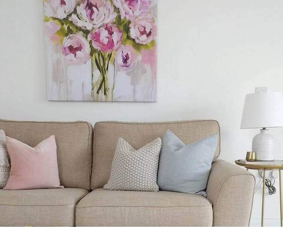 BHS Peony Canvas with a chic living room