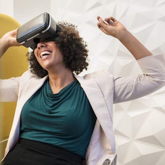 Gamer with VR goggles