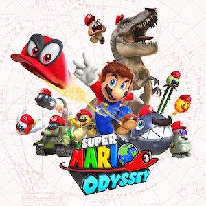 super mario odyssey logo showing the characters super mario cappy and others