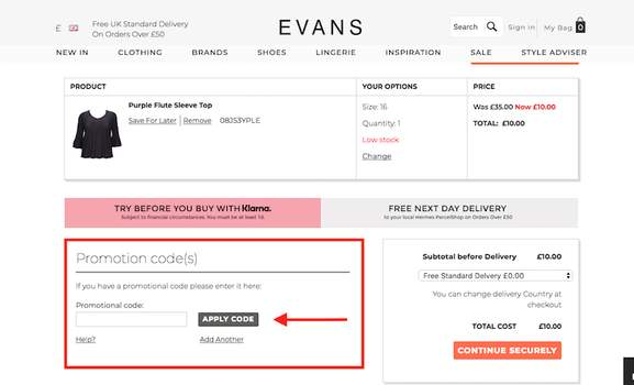 evans promocode how to redeem