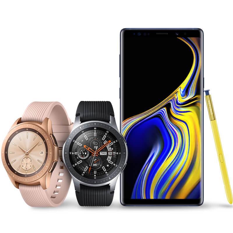 Samsung Galaxy Watch Rose Gold and Samsung Galaxy Black next to Samsung Note 9