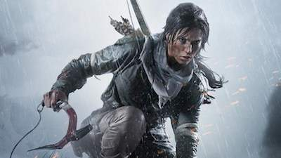 Tomb Raider scooching down with fierce look