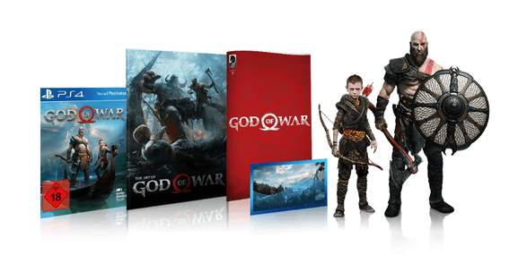 god of war collector's edition with the figurines of kratos and atreus