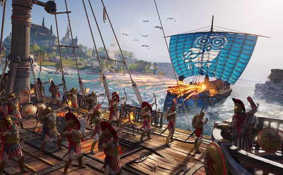 roman soldiers on a battle ship fighting another ship