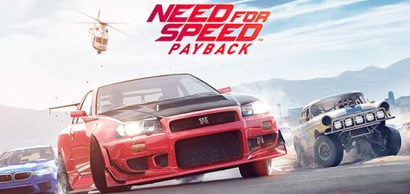 Need for Speed: Payback title banner with red Nissan GTR