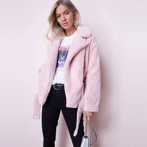 woman wearing pink very coat