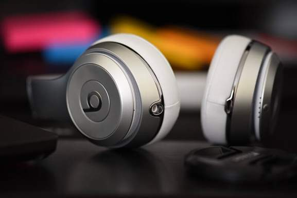 close-up of beats headphones