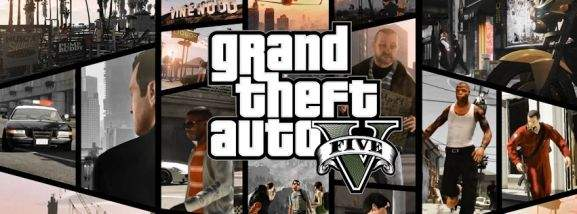 gta v banner with different scenes from the game