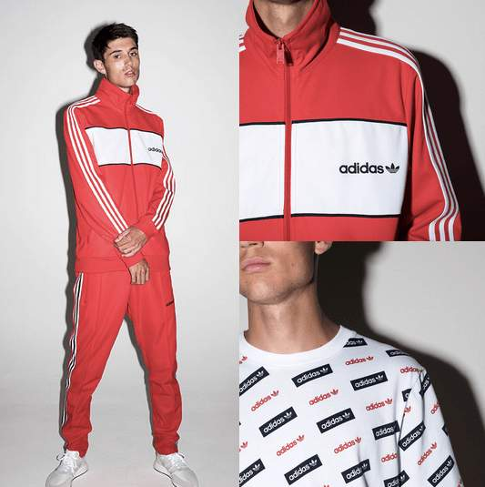 a guy wearing adidas originals fashion in white and orange
