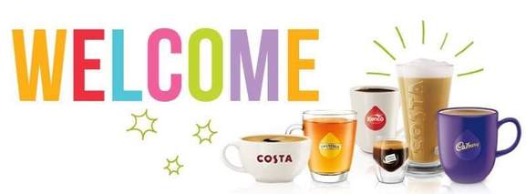 tassimo welcome banner with several hot drinks pictured