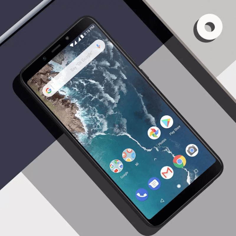 Xiaomi Mi A2 black on patchwork background