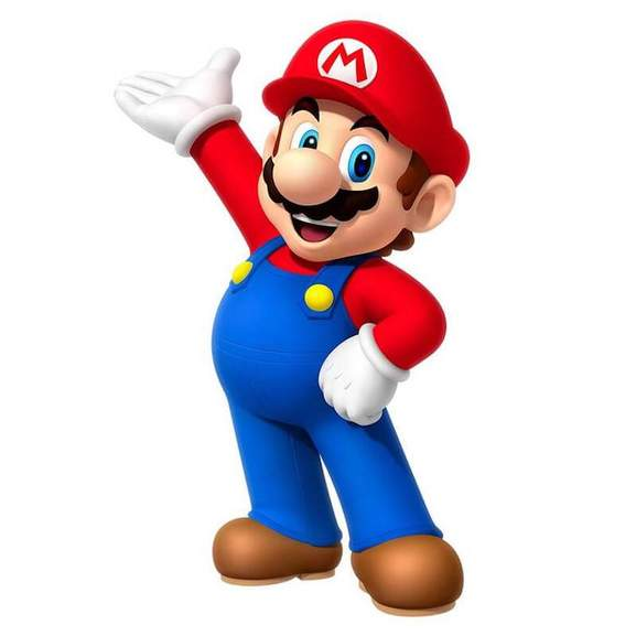 super mario holding up one arm
