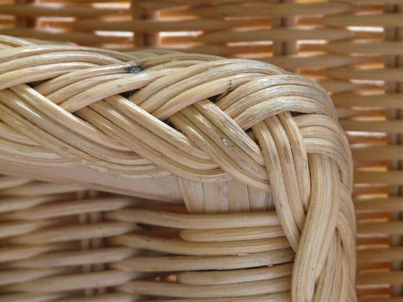close-up of a rattan chair