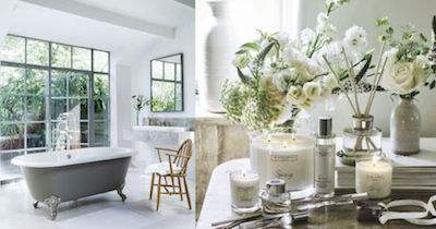 The White Company bathroom and bedroom design with candles and flowers