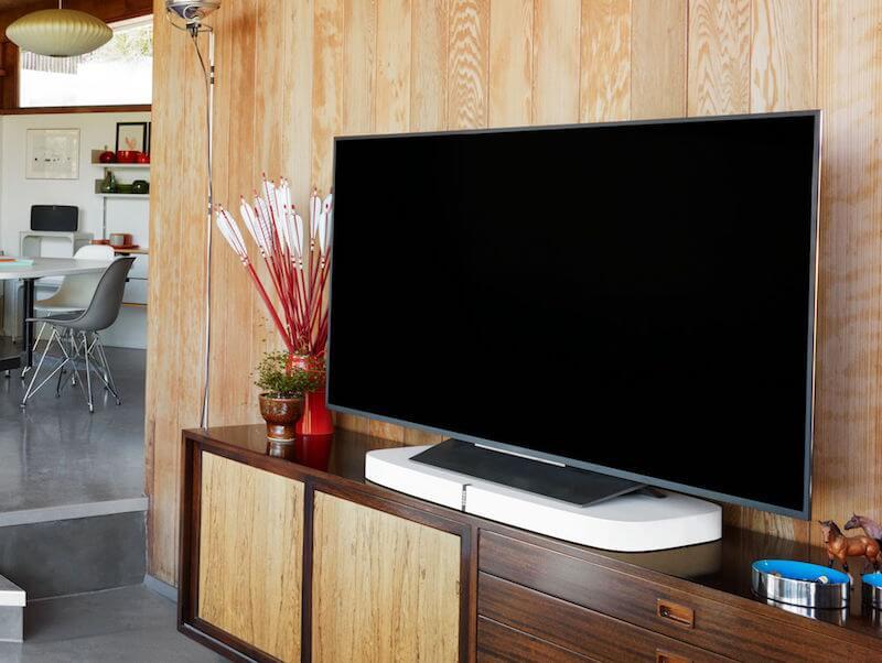 sonos playbase multiroom speaker setup in a living room