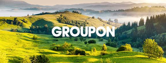 groupon banner with hilly landscape in the background