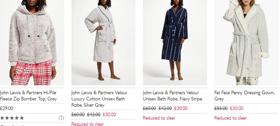 Dressing Gowns And Fleecy Nightwear Thingys From 600 At John Lewis
