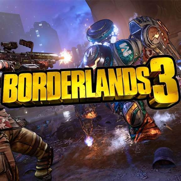 Borderlands 3 logo in front of Borderlands 3 characters