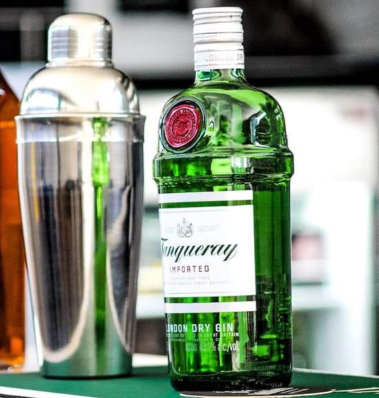 tanqueray with cocktail shaker