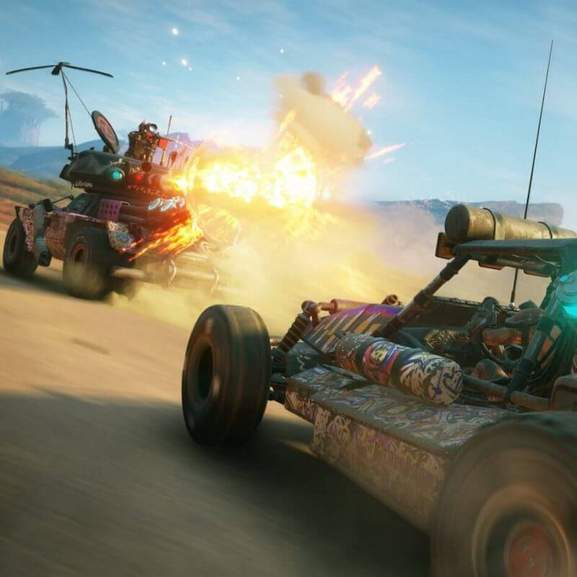 Two Rage 2 cars firing at each other with explosion