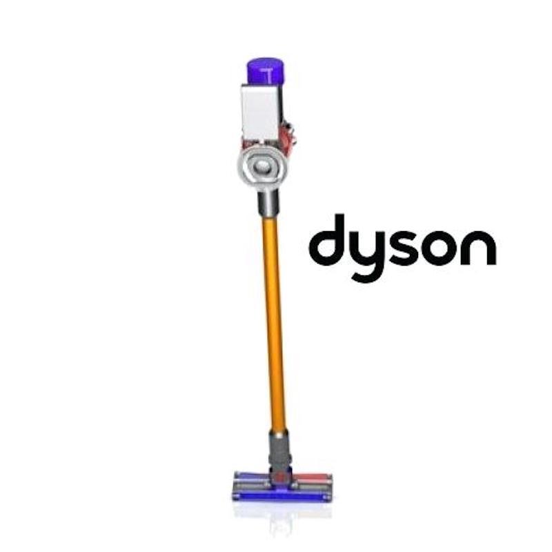 Dyson V8 next to Dyson logo on white background