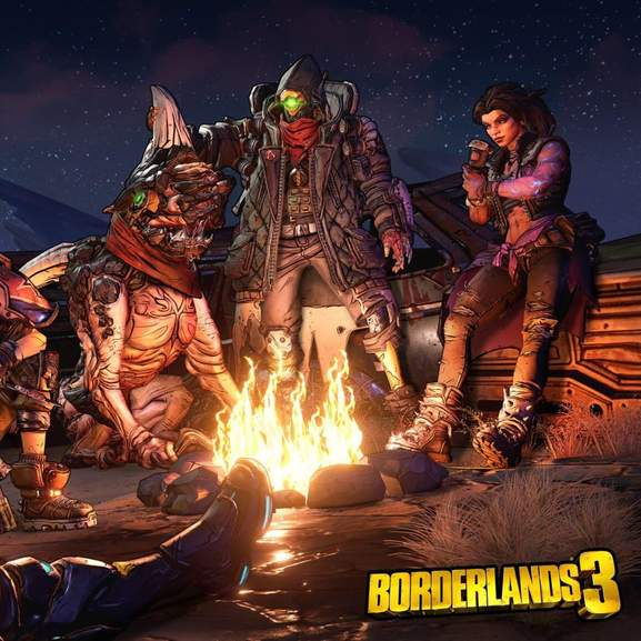 Borderlands 3 characters by fire and borderlands 3 logo