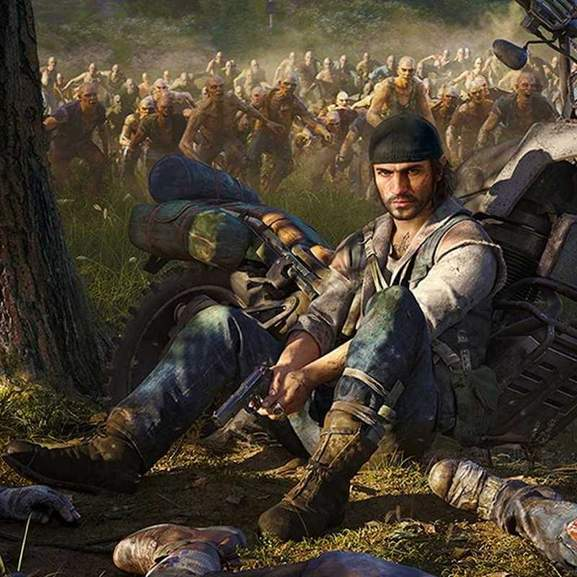 Days Gone Deacon sat on floor next to motorbike in front of zombies