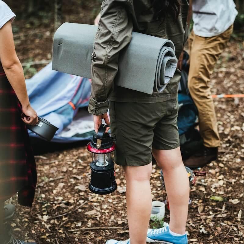 Camping mat and camping light