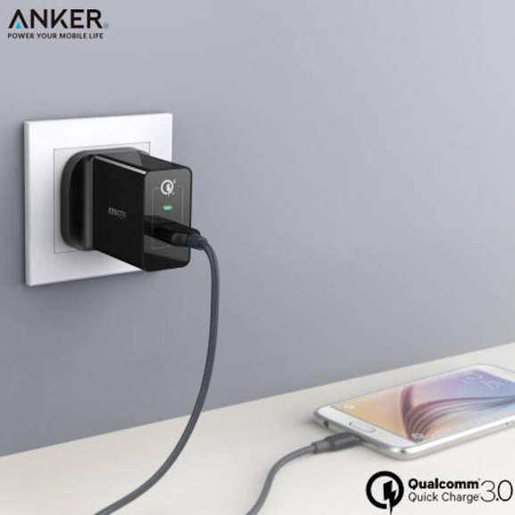 Black Anker PowerPort charging White Samsung Phone