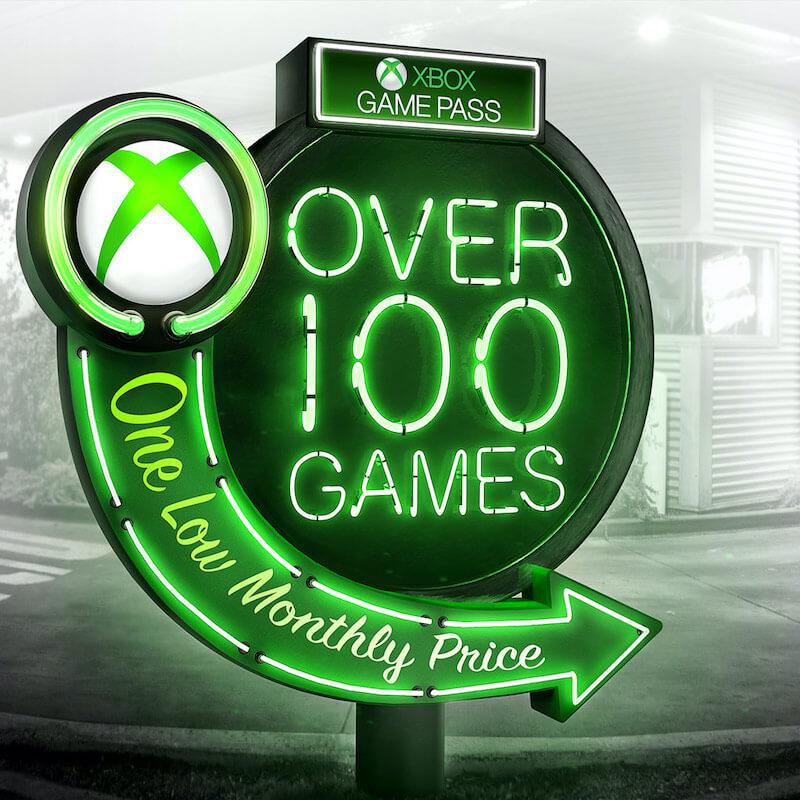 xbox game pass logo neon sign