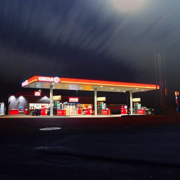petrol station night