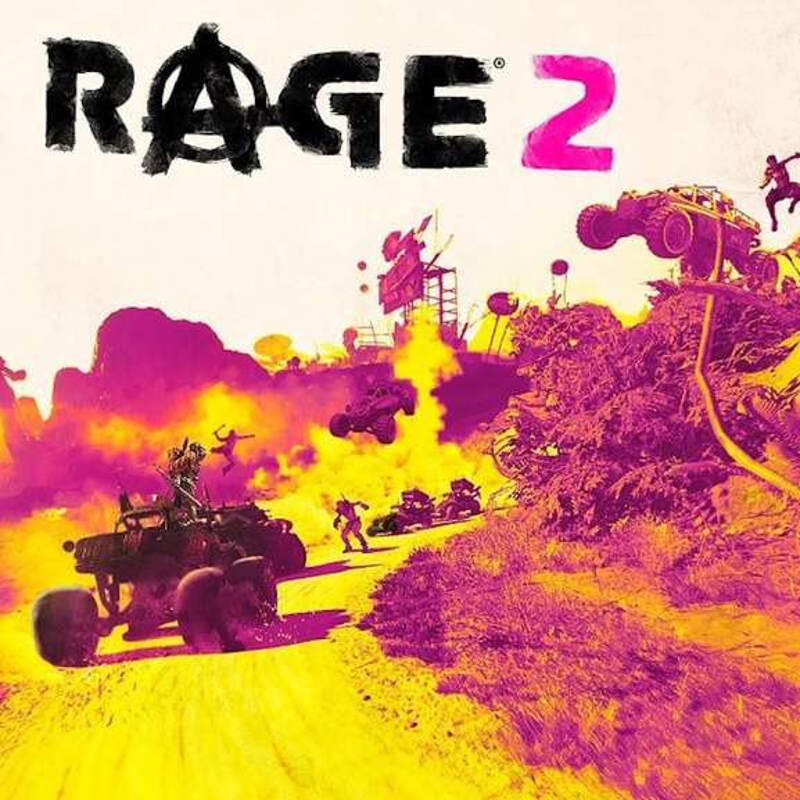 Rage 2 logo with vivid coloured battle