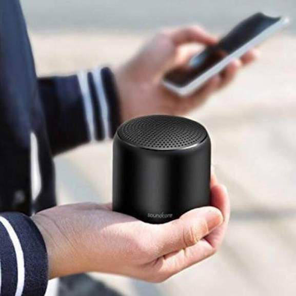 Anker SoundCore in hand bluetooth connected to phone