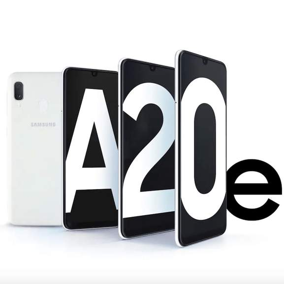 samsung galaxy a20e white with a20e on full screen display