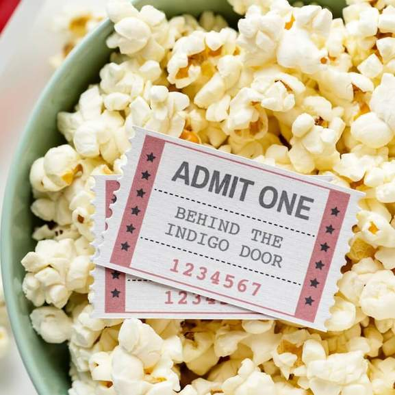 Old Cinema ticket with popcorn