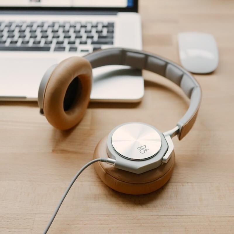 Beoplay headphones h9 by MacBook