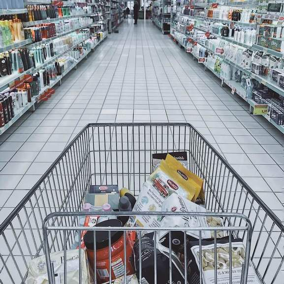 shopping trolley with groceries in