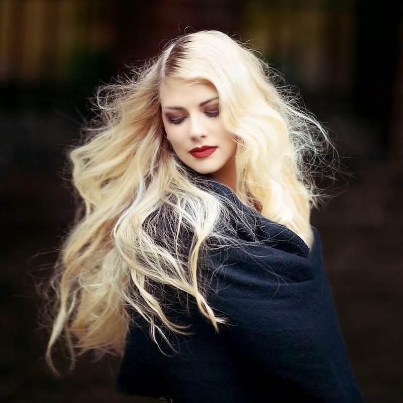 girl dyed blonde hair