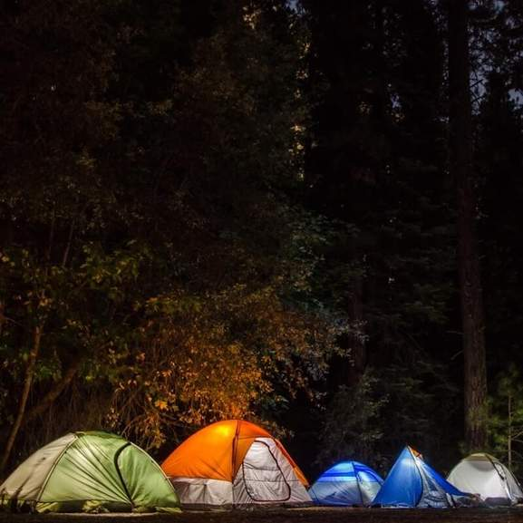 camping lights inside tents at night