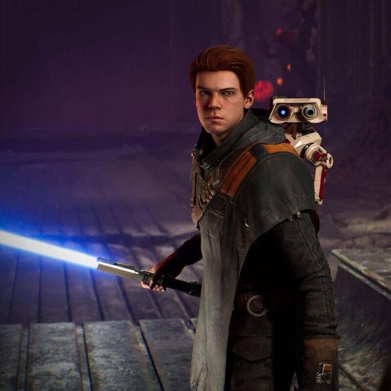 Cal Kestis with blue lightsaber