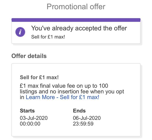 Ebay 1 Max Selling Fees 3rd 6th July Selected Accounts Hotukdeals