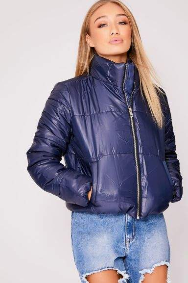 c8227817291d Naliah Navy Padded Cropped Puffer Coat (was £34.99) Now £11.99 ...