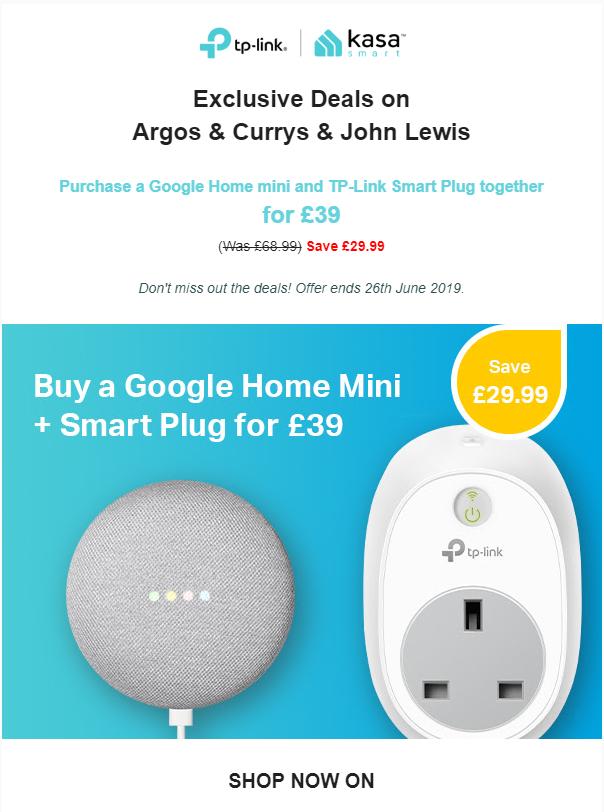 Google Home mini and TP-Link Smart Plug £39 @ Currys