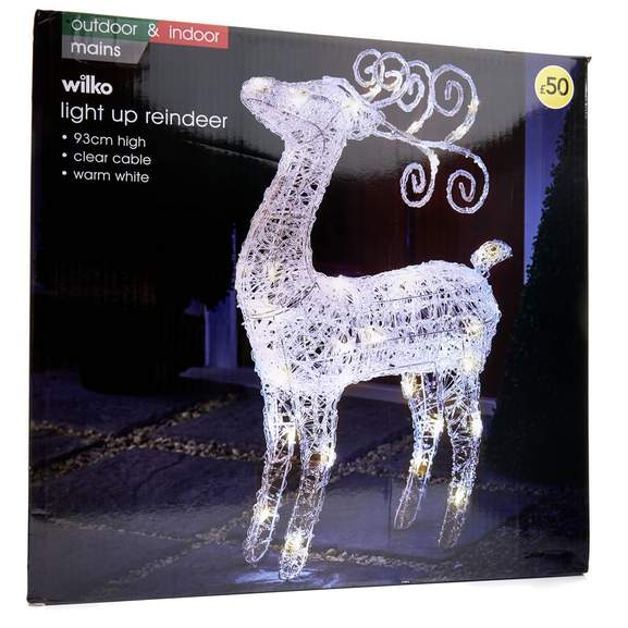Wilko Christmas Acrylic LED Light Up Reindeer Large was £50 Now 30 @ Wilko  HotUKDeals