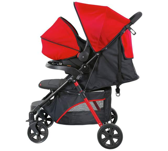 Fisher Price Black And Red Pushchair With Footmuff
