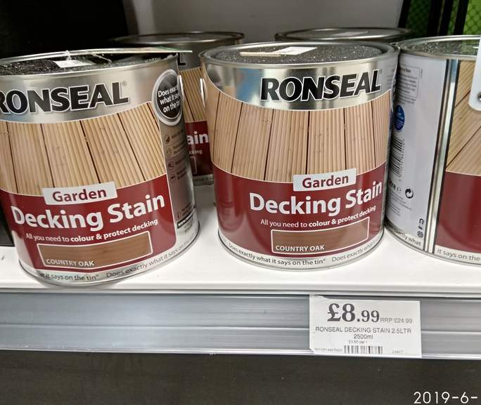 Ronseal Decking Stain 8 99 In Store Home Bargains Darlington