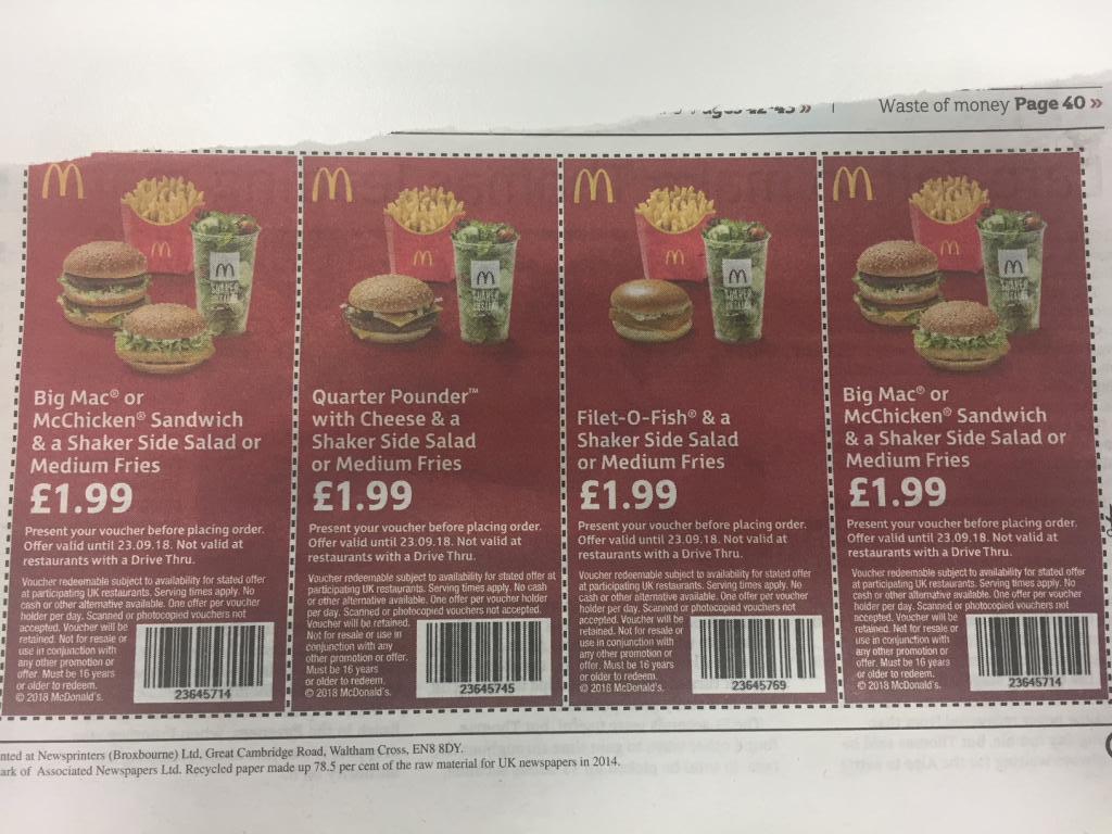Active McDonald's Vouchers & Discount Codes for October 12222