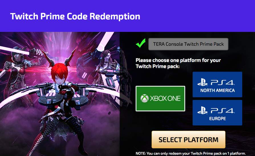 Xbox One/PS4] TERA Console's Head Start Pack - Free - Amazon/Twitch