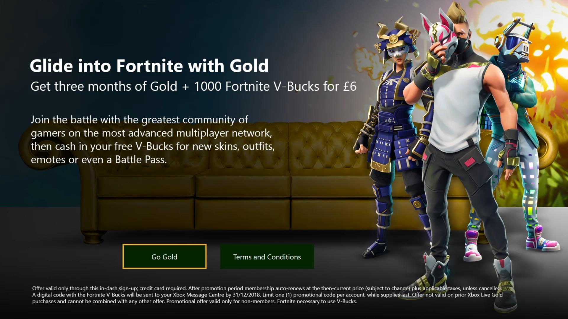 Xbox Live Gold 3 Months + 1000 Fortnite V-Bucks for £6